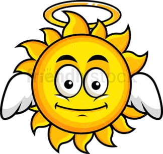With wings and halo sun emoticon. PNG - JPG and vector EPS file formats (infinitely scalable). Image isolated on transparent background.