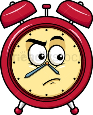 Irritated alarm clock emoticon. PNG - JPG and vector EPS file formats (infinitely scalable). Image isolated on transparent background.