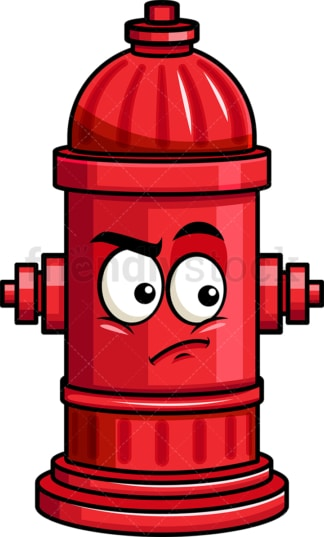 Irritated fire hydrant emoticon. PNG - JPG and vector EPS file formats (infinitely scalable). Image isolated on transparent background.