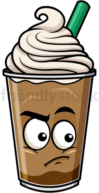 Irritated iced coffee emoticon. PNG - JPG and vector EPS file formats (infinitely scalable). Image isolated on transparent background.