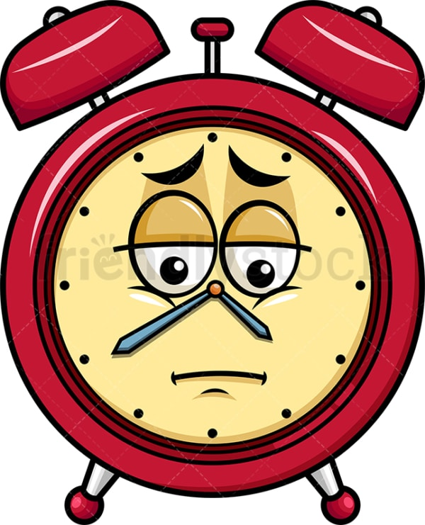 Depressed alarm clock emoticon. PNG - JPG and vector EPS file formats (infinitely scalable). Image isolated on transparent background.