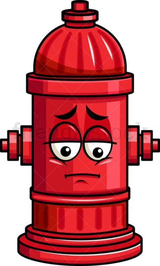 Depressed fire hydrant emoticon. PNG - JPG and vector EPS file formats (infinitely scalable). Image isolated on transparent background.