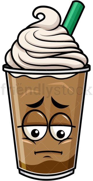 Depressed iced coffee emoticon. PNG - JPG and vector EPS file formats (infinitely scalable). Image isolated on transparent background.