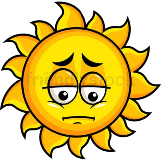 Depressed sun emoticon. PNG - JPG and vector EPS file formats (infinitely scalable). Image isolated on transparent background.