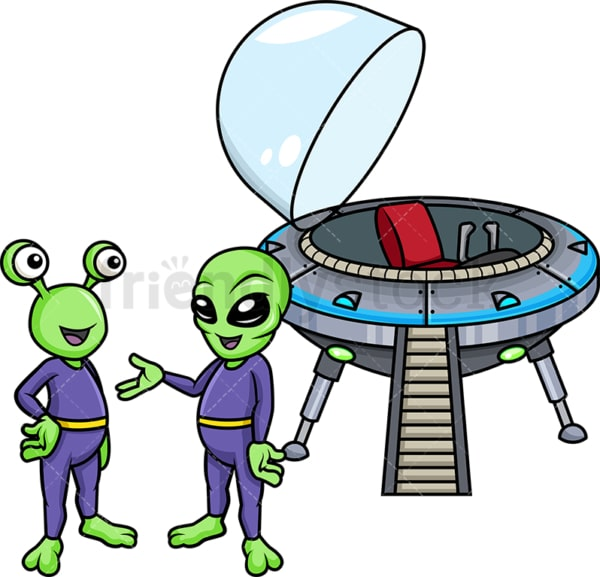 Aliens talking to each other after landing. Transparent PNG - JPG - vector EPS (infinitely scalable).