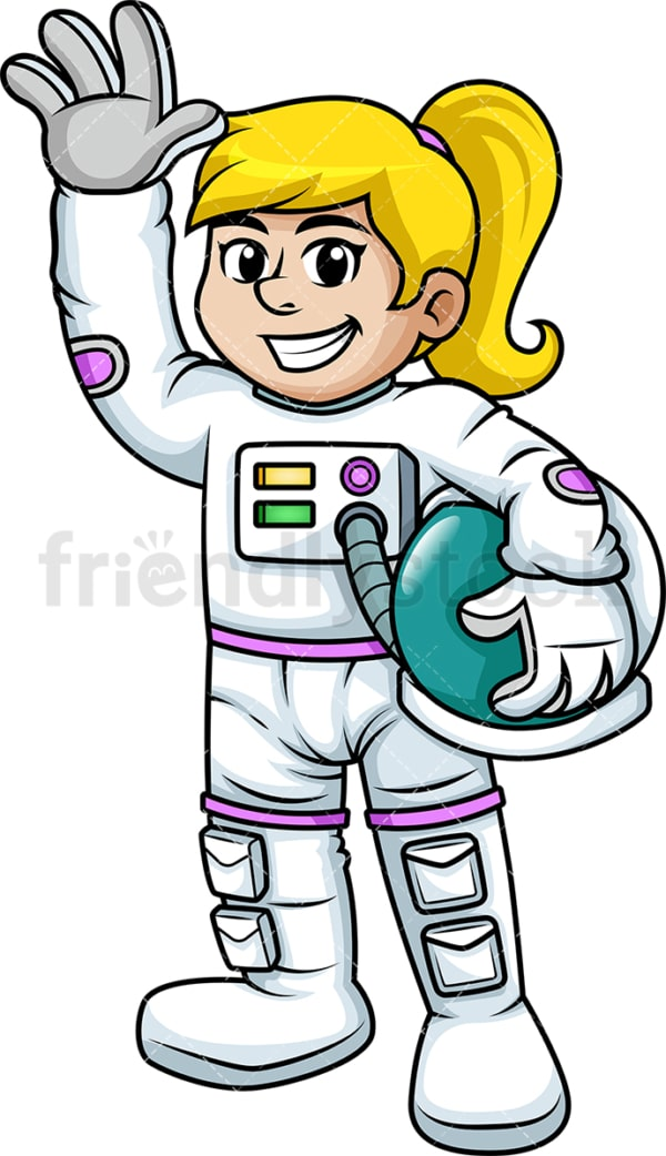 Cheerful female astronaut. PNG - JPG and vector EPS (infinitely scalable). Image isolated on transparent background.