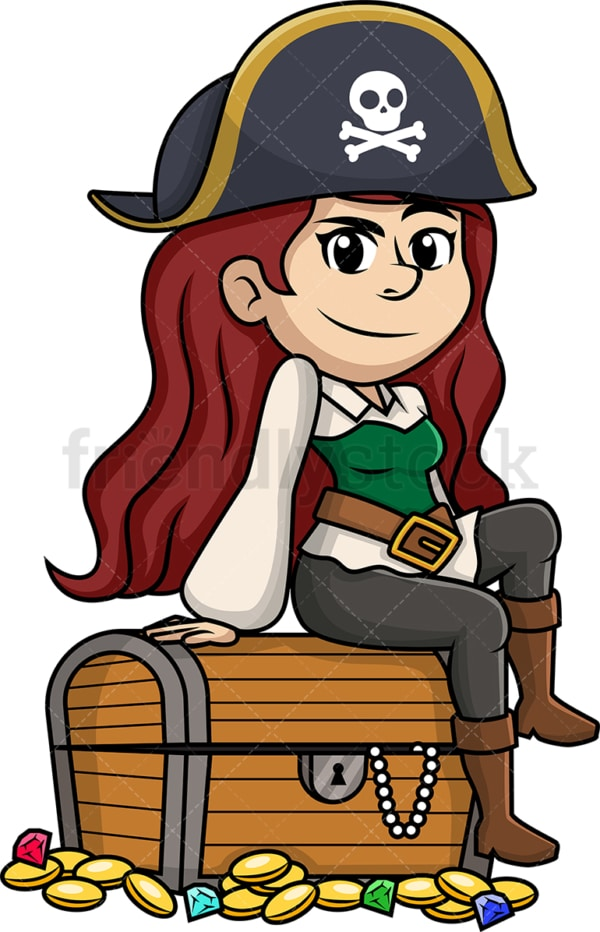 Attractive female pirate. PNG - JPG and vector EPS (infinitely scalable).