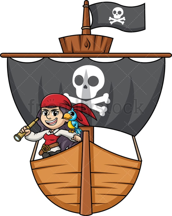 Woman pirate onboard a ship. PNG - JPG and vector EPS (infinitely scalable).