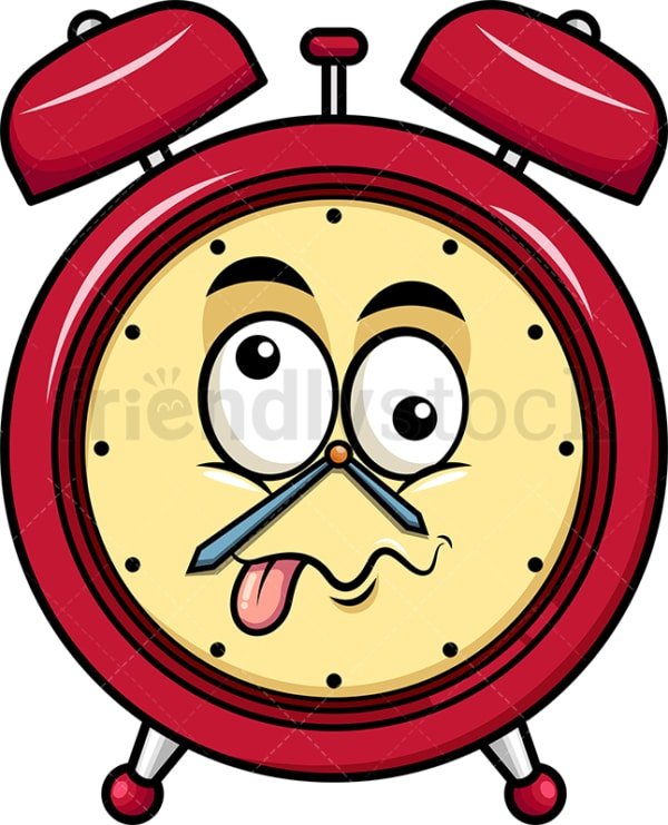 Goofy crazy eyes alarm clock emoticon. PNG - JPG and vector EPS file formats (infinitely scalable). Image isolated on transparent background.