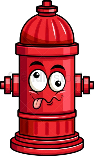 Goofy crazy eyes fire hydrant emoticon. PNG - JPG and vector EPS file formats (infinitely scalable). Image isolated on transparent background.