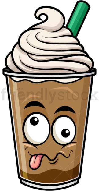 Goofy crazy eyes iced coffee emoticon. PNG - JPG and vector EPS file formats (infinitely scalable). Image isolated on transparent background.