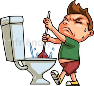 Kid using plunger to unclog toilet. PNG - JPG and vector EPS (infinitely scalable).