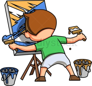 Little boy painting abstract scene. PNG - JPG and vector EPS (infinitely scalable).
