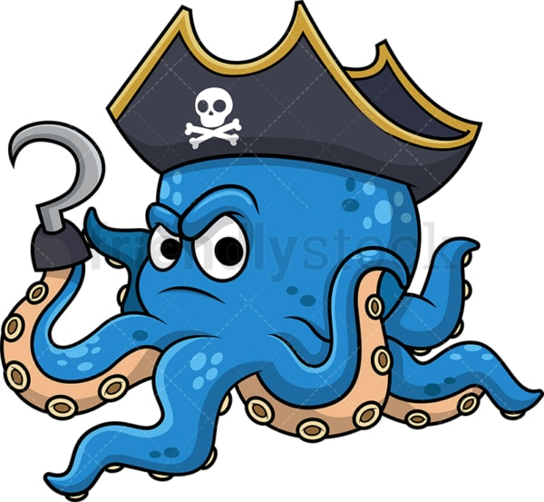 Octopus pirate. PNG - JPG and vector EPS (infinitely scalable). Image isolated on transparent background.