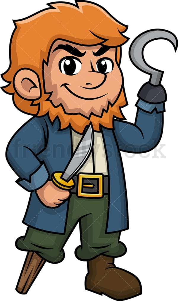 Pirate with hook and wooden leg. PNG - JPG and vector EPS (infinitely scalable).