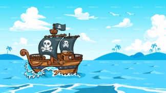 Pirate ship sailing the ocean background in 16:9 aspect ratio. PNG - JPG and vector EPS file formats (infinitely scalable).