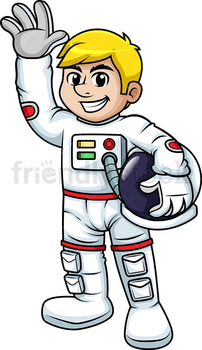 Waving Male Astronaut Cartoon Vector Clipart - FriendlyStock