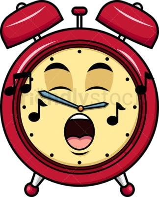 Singing alarm clock emoticon. PNG - JPG and vector EPS file formats (infinitely scalable). Image isolated on transparent background.