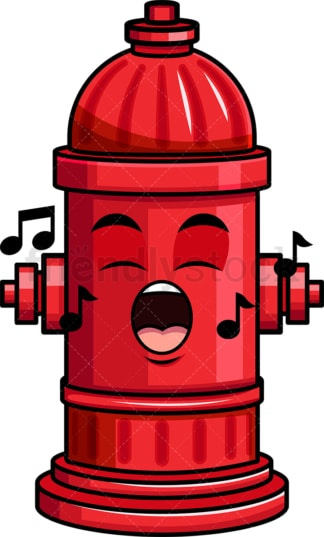 Singing fire hydrant emoticon. PNG - JPG and vector EPS file formats (infinitely scalable). Image isolated on transparent background.