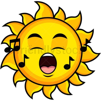 Singing sun emoticon. PNG - JPG and vector EPS file formats (infinitely scalable). Image isolated on transparent background.