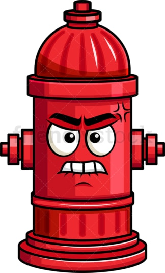 Angry fire hydrant emoticon. PNG - JPG and vector EPS file formats (infinitely scalable). Image isolated on transparent background.