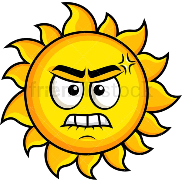 Angry sun emoticon. PNG - JPG and vector EPS file formats (infinitely scalable). Image isolated on transparent background.