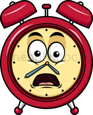 Shocked alarm clock emoticon. PNG - JPG and vector EPS file formats (infinitely scalable). Image isolated on transparent background.