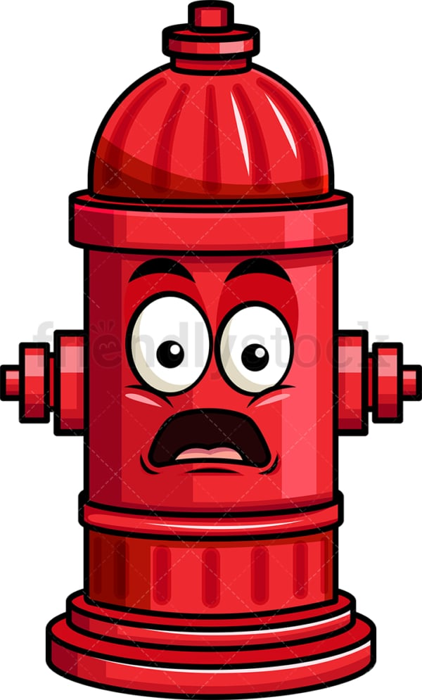 Shocked fire hydrant emoticon. PNG - JPG and vector EPS file formats (infinitely scalable). Image isolated on transparent background.