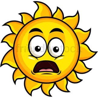 Shocked sun emoticon. PNG - JPG and vector EPS file formats (infinitely scalable). Image isolated on transparent background.