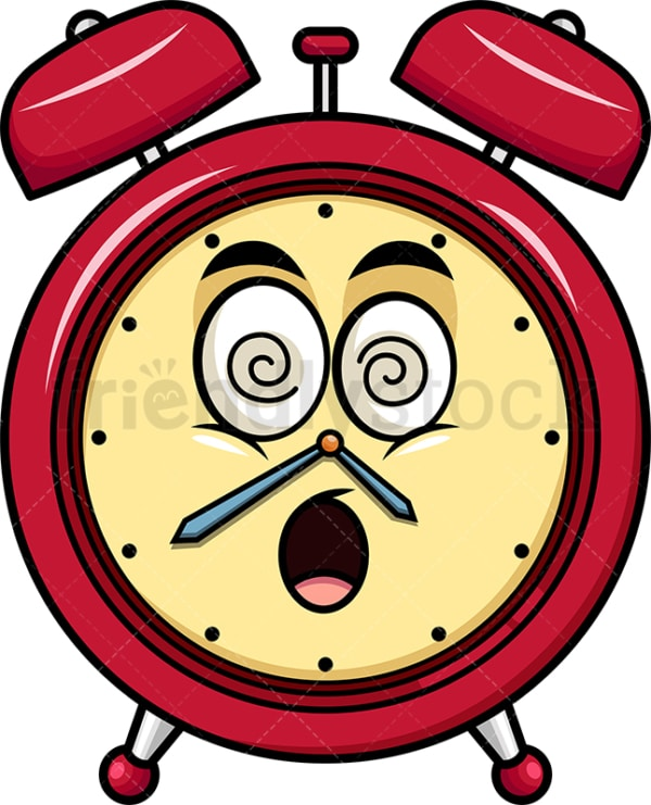 Stunned alarm clock emoticon. PNG - JPG and vector EPS file formats (infinitely scalable). Image isolated on transparent background.