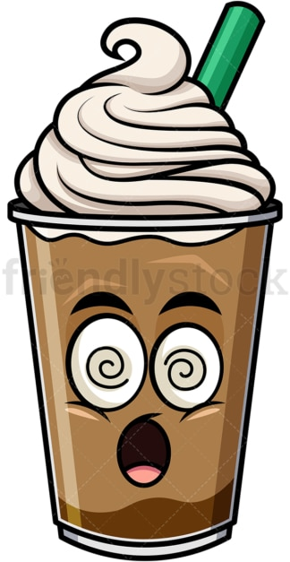 Stunned iced coffee emoticon. PNG - JPG and vector EPS file formats (infinitely scalable). Image isolated on transparent background.