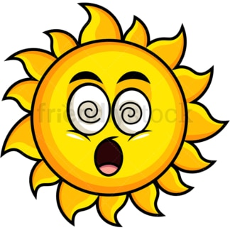 Stunned sun emoticon. PNG - JPG and vector EPS file formats (infinitely scalable). Image isolated on transparent background.