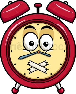 Taped mouth alarm clock emoticon. PNG - JPG and vector EPS file formats (infinitely scalable). Image isolated on transparent background.