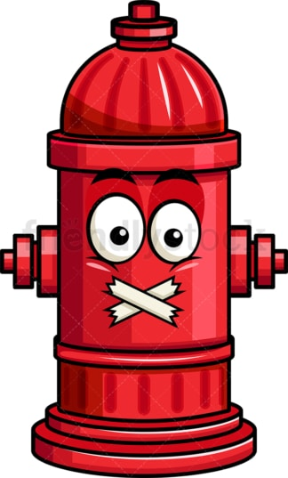 Taped mouth fire hydrant emoticon. PNG - JPG and vector EPS file formats (infinitely scalable). Image isolated on transparent background.