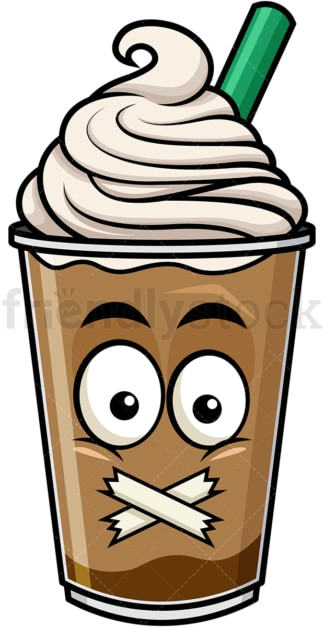 Taped mouth iced coffee emoticon. PNG - JPG and vector EPS file formats (infinitely scalable). Image isolated on transparent background.