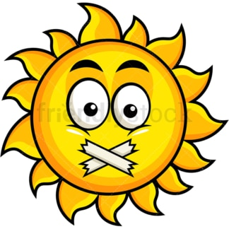Taped mouth sun emoticon. PNG - JPG and vector EPS file formats (infinitely scalable). Image isolated on transparent background.