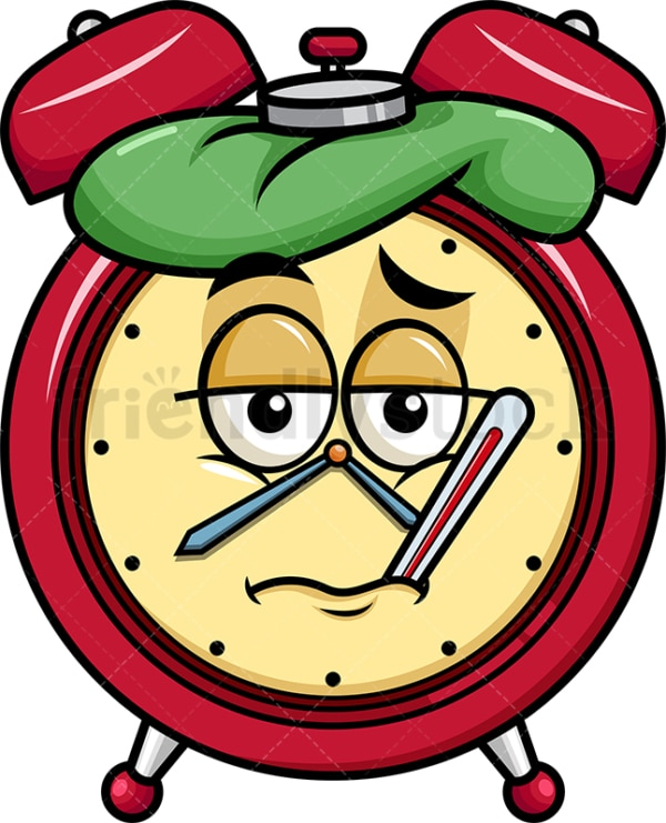 Feverish sick alarm clock emoticon. PNG - JPG and vector EPS file formats (infinitely scalable). Image isolated on transparent background.