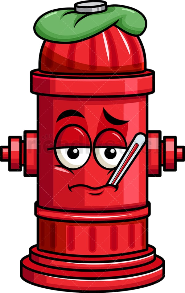 Feverish sick fire hydrant emoticon. PNG - JPG and vector EPS file formats (infinitely scalable). Image isolated on transparent background.