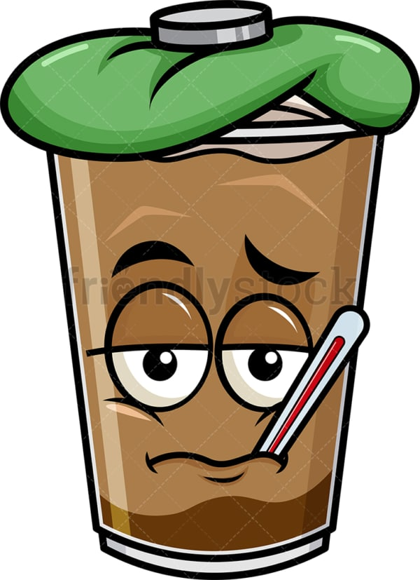 Feverish sick iced coffee emoticon. PNG - JPG and vector EPS file formats (infinitely scalable). Image isolated on transparent background.
