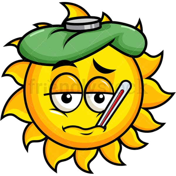 Feverish sick sun emoticon. PNG - JPG and vector EPS file formats (infinitely scalable). Image isolated on transparent background.