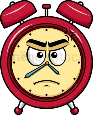 Annoyed alarm clock emoticon. PNG - JPG and vector EPS file formats (infinitely scalable). Image isolated on transparent background.