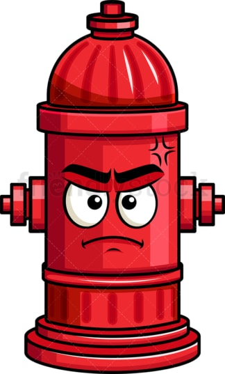 Annoyed fire hydrant emoticon. PNG - JPG and vector EPS file formats (infinitely scalable). Image isolated on transparent background.