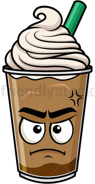 Annoyed iced coffee emoticon. PNG - JPG and vector EPS file formats (infinitely scalable). Image isolated on transparent background.
