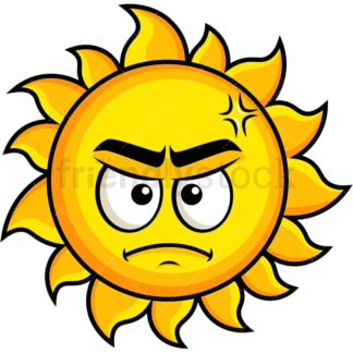 Annoyed sun emoticon. PNG - JPG and vector EPS file formats (infinitely scalable). Image isolated on transparent background.