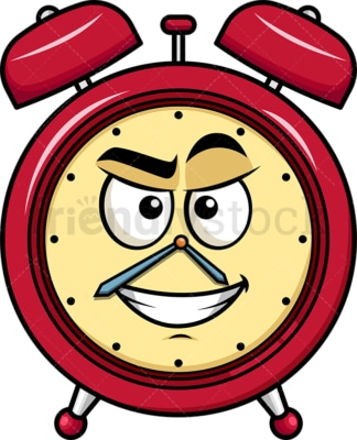 Cunning evil face alarm clock emoticon. PNG - JPG and vector EPS file formats (infinitely scalable). Image isolated on transparent background.