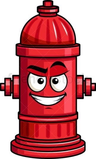 Cunning evil face fire hydrant emoticon. PNG - JPG and vector EPS file formats (infinitely scalable). Image isolated on transparent background.