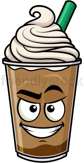 Cunning evil face iced coffee emoticon. PNG - JPG and vector EPS file formats (infinitely scalable). Image isolated on transparent background.