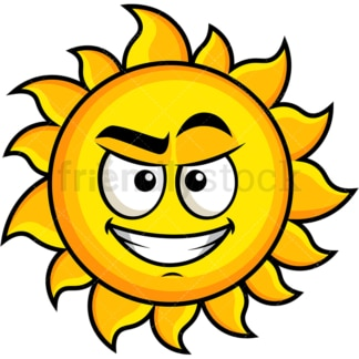 Cunning evil face sun emoticon. PNG - JPG and vector EPS file formats (infinitely scalable). Image isolated on transparent background.