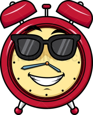 Cool alarm clock wearing sunglasses emoticon. PNG - JPG and vector EPS file formats (infinitely scalable). Image isolated on transparent background.