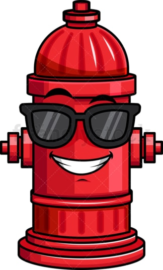 Cool fire hydrant wearing sunglasses emoticon. PNG - JPG and vector EPS file formats (infinitely scalable). Image isolated on transparent background.